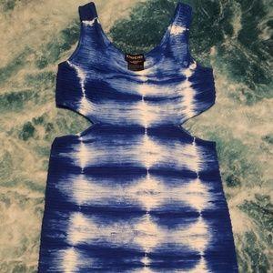 Bebe Tie-Dye Cut Out Mini Dress